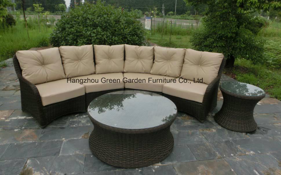 Patio Furniturte Large Sofa Set with Round Rattan