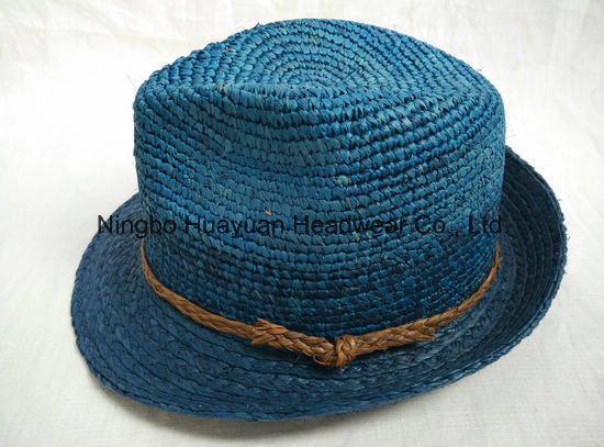 100% Fine Crocheted Raffia Fedora Straw Hat