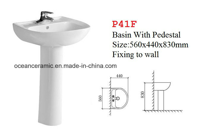 P41h Wall Hung Ceramic Washbasin with Half Pedestal