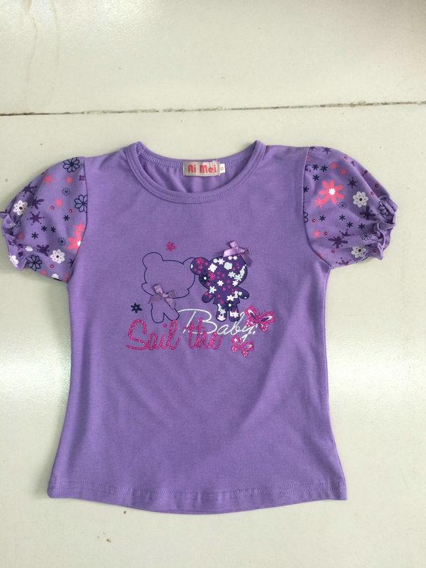 Flower Cute Girl Children′s T-Shirt in Kids Wear Clothing Sgt-087