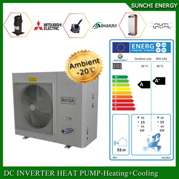 Cold -25c Winter Running 12kw / 19kw 35kw Floor Heating Room Indoor Unit / Outdoor Unit Evi Split Air to Water Heat Pump
