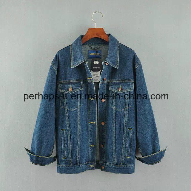 Fashion Wild Ladies Cardigan Denim Jacket with Bf Style