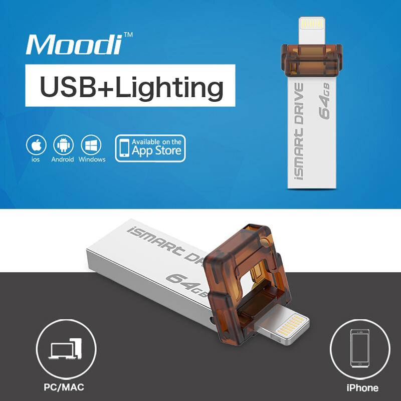 Moodi Ismart Drive 16GB 32GB 64GB Dual USB Flash Pendrive Lightning iPhone USB Drive