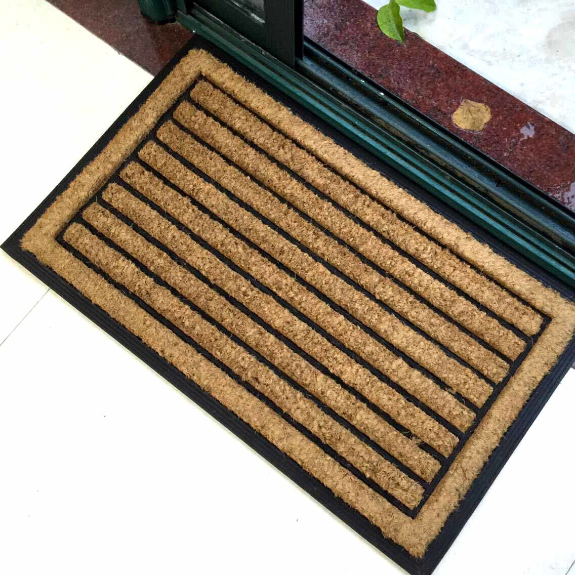 Rubberized Embossed Mouled Brush Rubber Backed Outdoor Coco Coir Coconut Fiber Door Mats