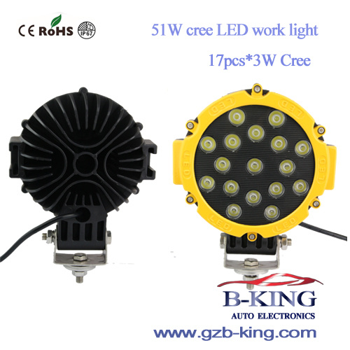 IP67 51W 17PCS*3W CREE LED Work Light