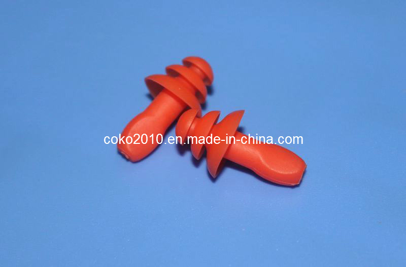 Orange Swimming Thrre Flange Silicon Earplugs