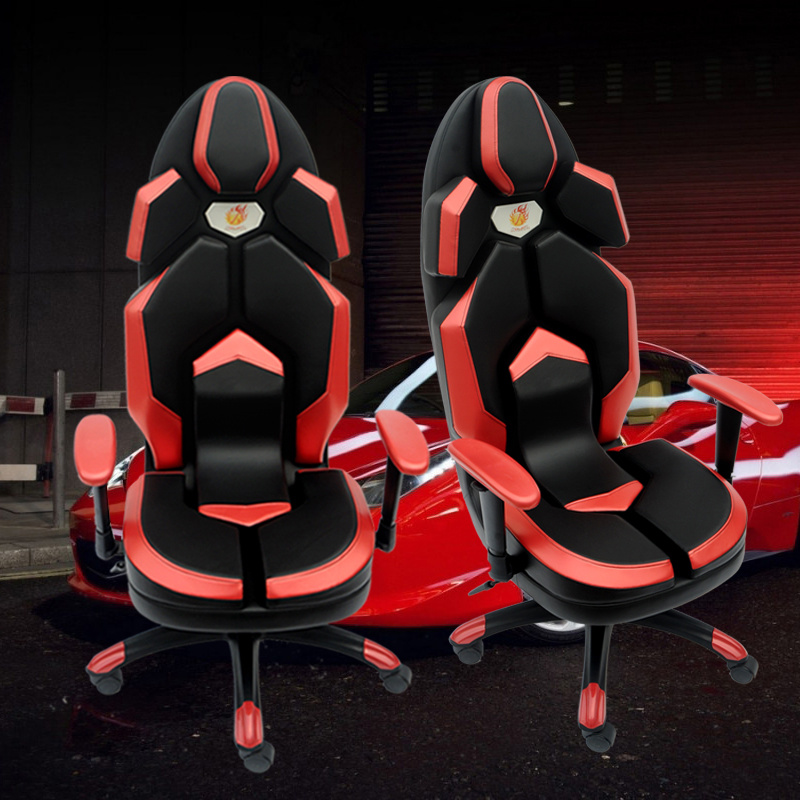 Red Racing Computer Chair Rotatable Lift