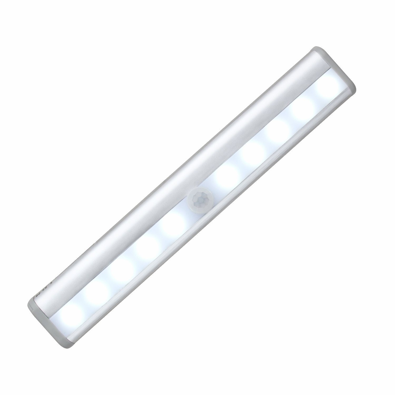 Stick-on Anywhere Portable 10 LED Wireless Motion Sensing Light Bar with Magnetic Strip (Battery Operated) - Silver
