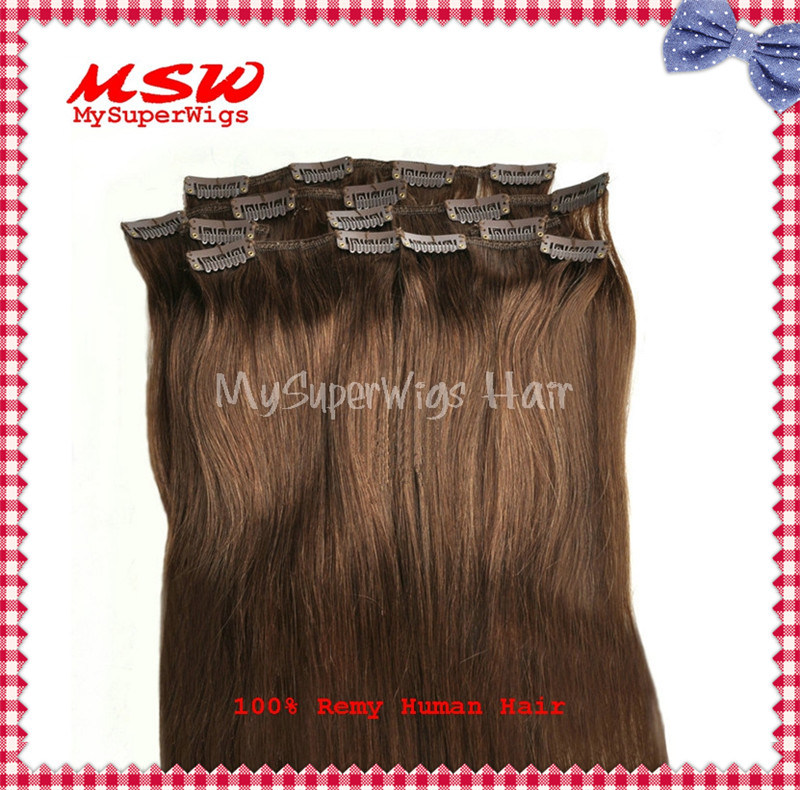 100% Top Real Human Hair Clip in Hair Extensions