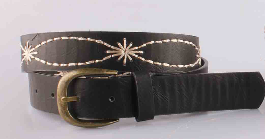 2017 Aw Leather Embroidered Women Evening Belt