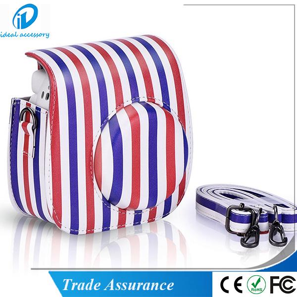 Fujifilm Instax Mini8 Plus Stripe Style PU Leather Mini8 Camera Case