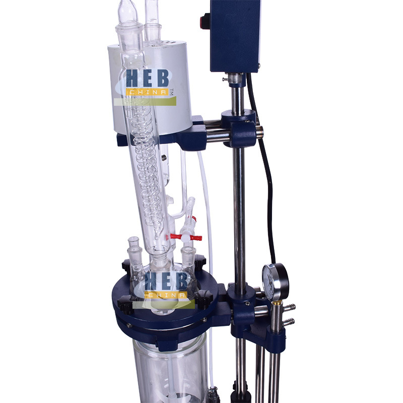 HEb-1L Jacketed Glass Reactor/Double Layer Glass Reactor with Heating Bath and Chiller