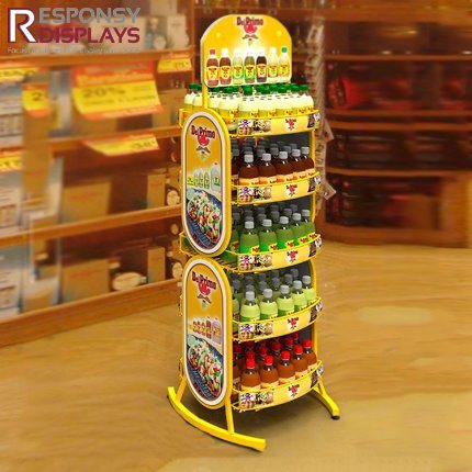 Multi-Layer Floor Iron Metal Beverage Display Stand with Poster