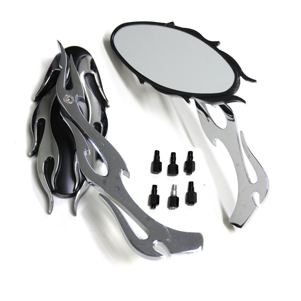 Chrome& Black Motorcycle Flame Rearview Mirrors
