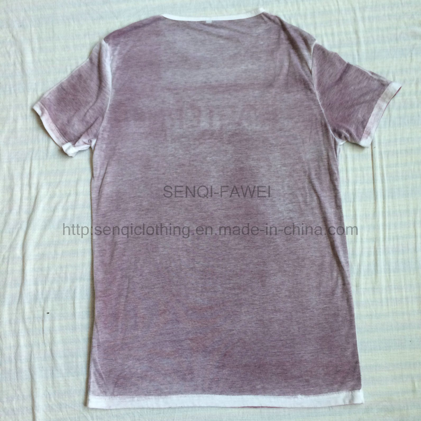 Summer Purple Faded Short Sleeve T-Shirt in Men′s Knitwear Sport Clothes Fw-8669