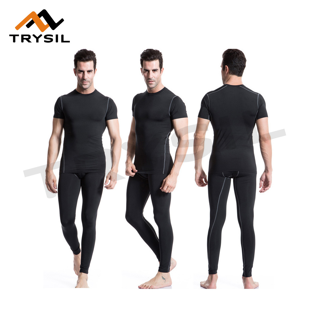 Men Gym Wear Tight Fitness Sportswear Top and Pants Compression Clothes