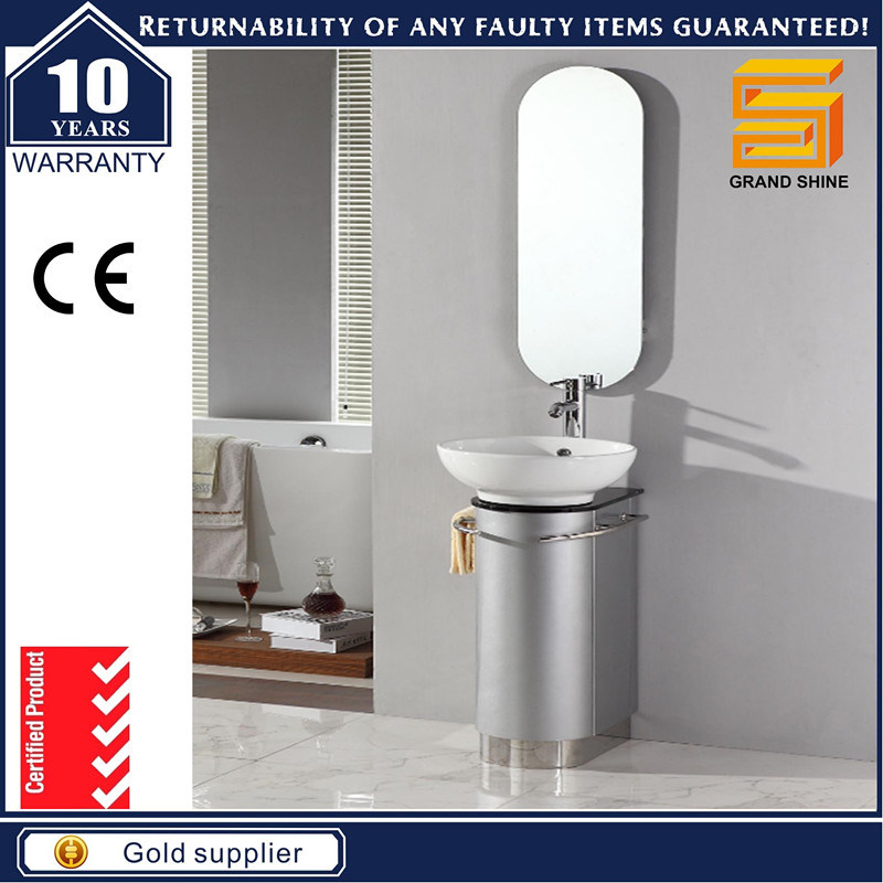 Silver Grey MDF Floor Mounted Bathroom Cabinet with Wash Basin
