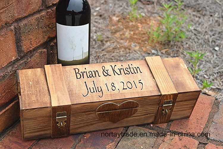 Personalized Ceremony Wood Wine Box with 2 Lockable Hinges-Lockable Wood Wine Box