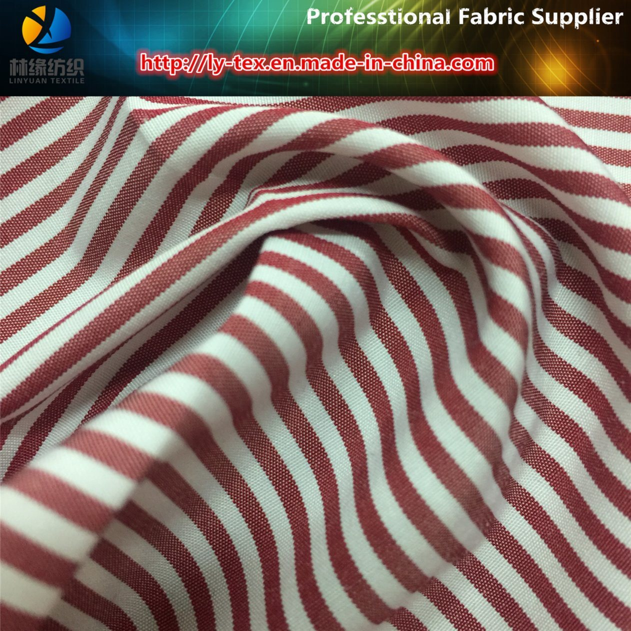 Popular T/C Yarn Dyed Stripe Woven Textile Fabric for Women Casual Shirt