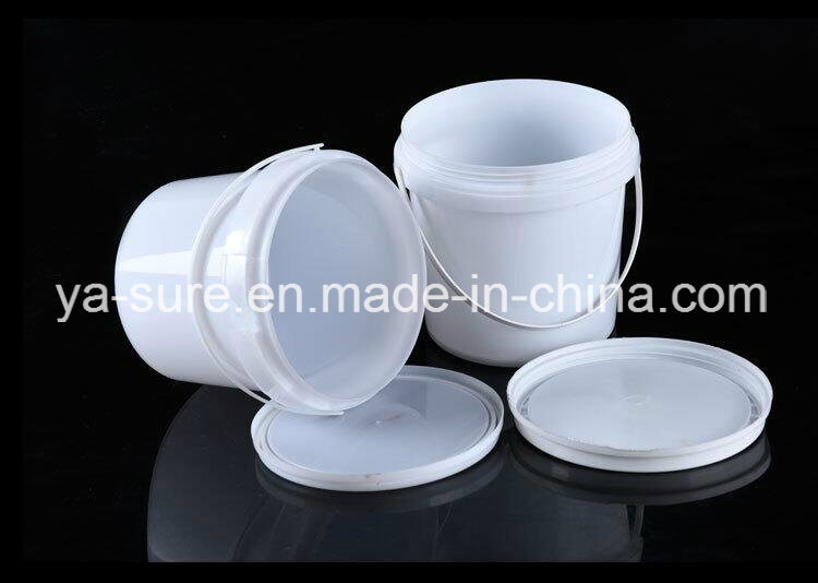 2L White Round Food Grade Plastic Bucket with Handle