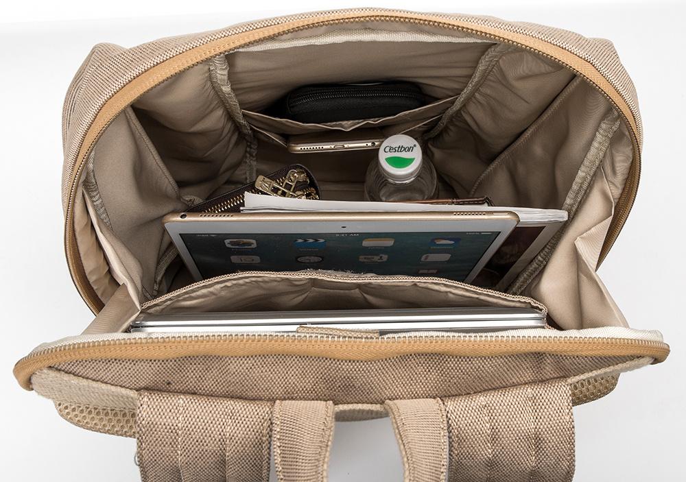 New Design Khaki Color Waterproof Laptop Canvas School Backpack Racksack Bag