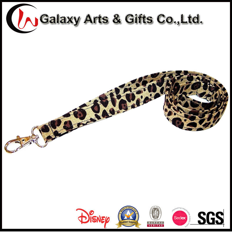 100% Cotton Quality Personalzied Sublimation Printed Leopard Print Lanyard