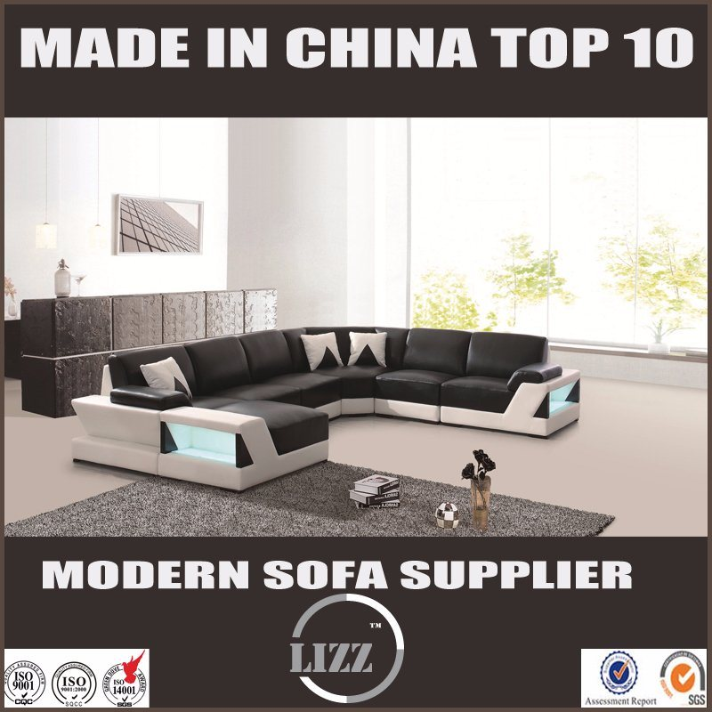 with LED Light U Shape Corner Design Leather Living Room Sofa