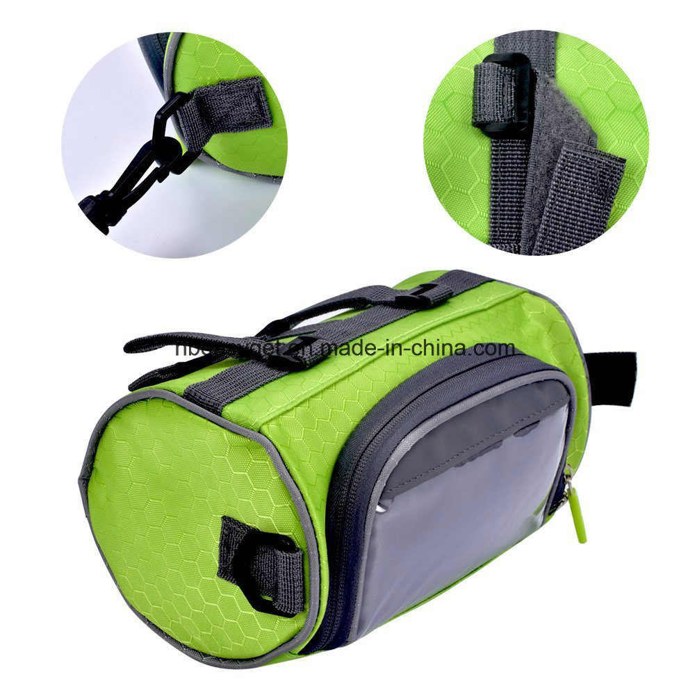 Bicycle Bag Cycling Cylindrical Portable Bicycle Bike Front Handlebar Bag with Transparent Pouch for Riding and More Outdoor Activities Esg10163