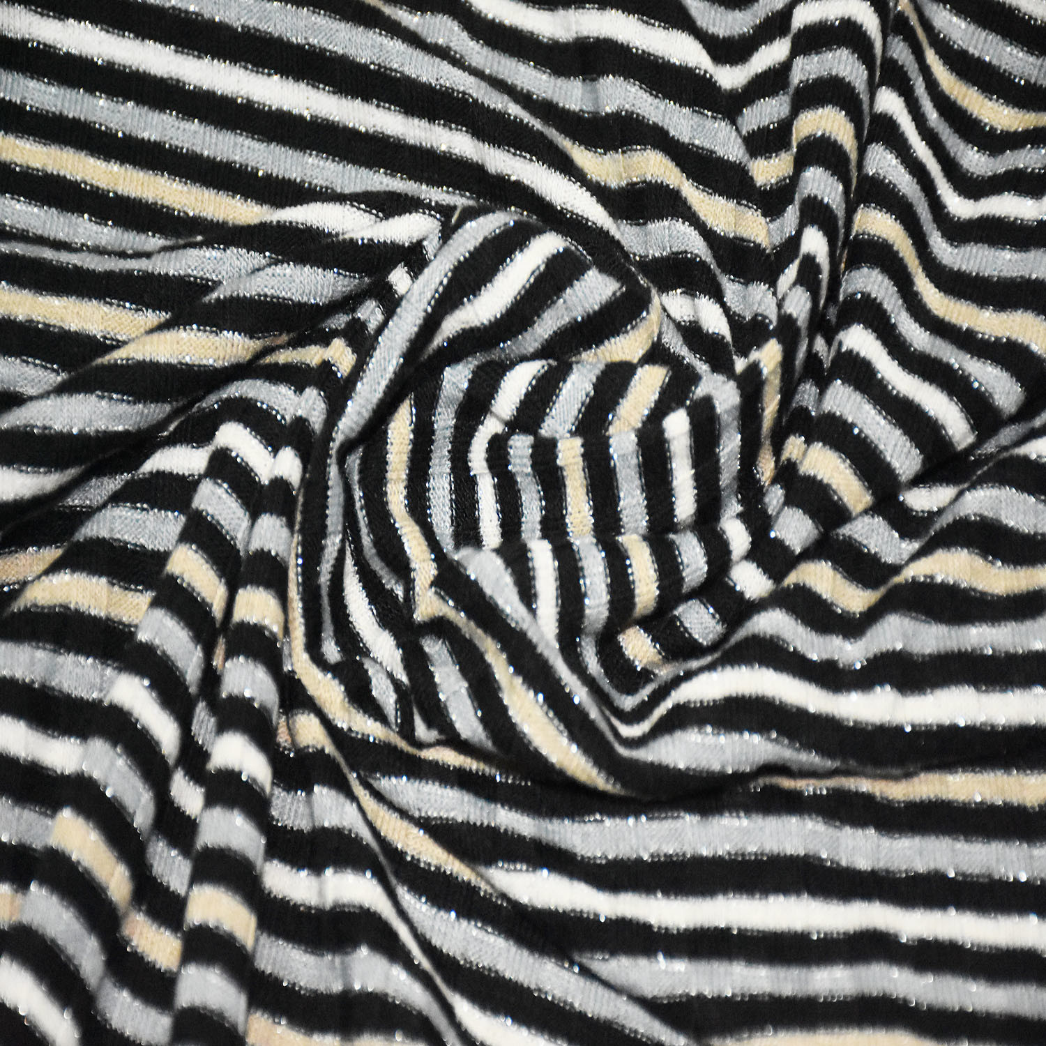 Polyester Lurex Spandex Stripe Rib Fabric for Clothing