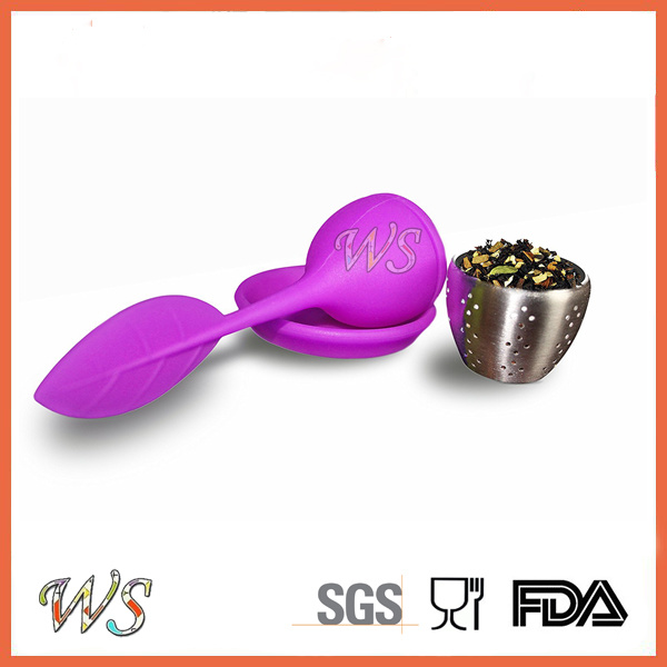 Ws-If038 Tea Infuser Leaf Strainer Handle with Steel Ball Silicone Leaf Lid (Purple)