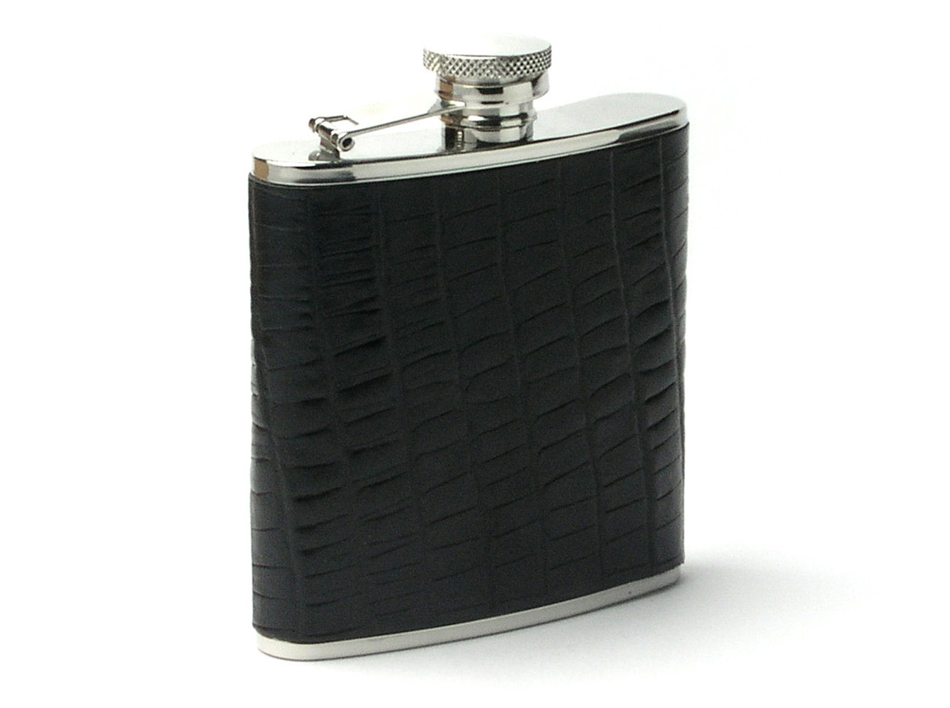 Stainless Steel Leather Hip Flask with Stainless Steel Funnel and Cup Set