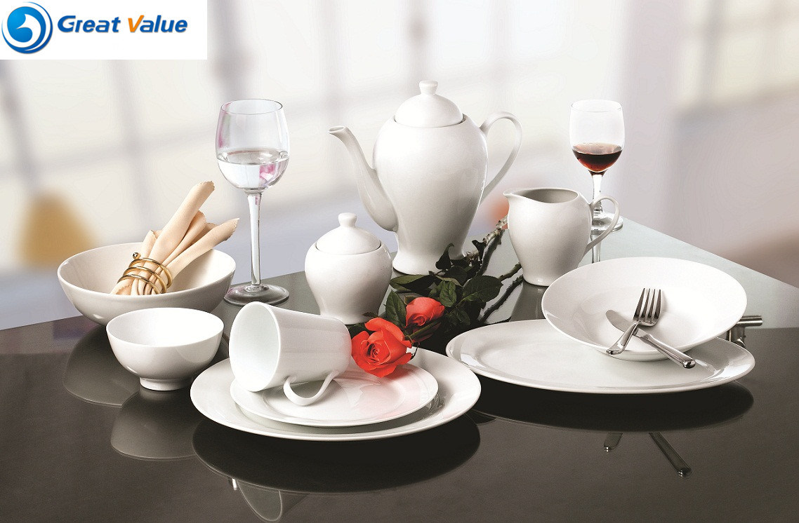 Hotel Quality White Dinner Plates Porcelain for Restaurant White Wholesale