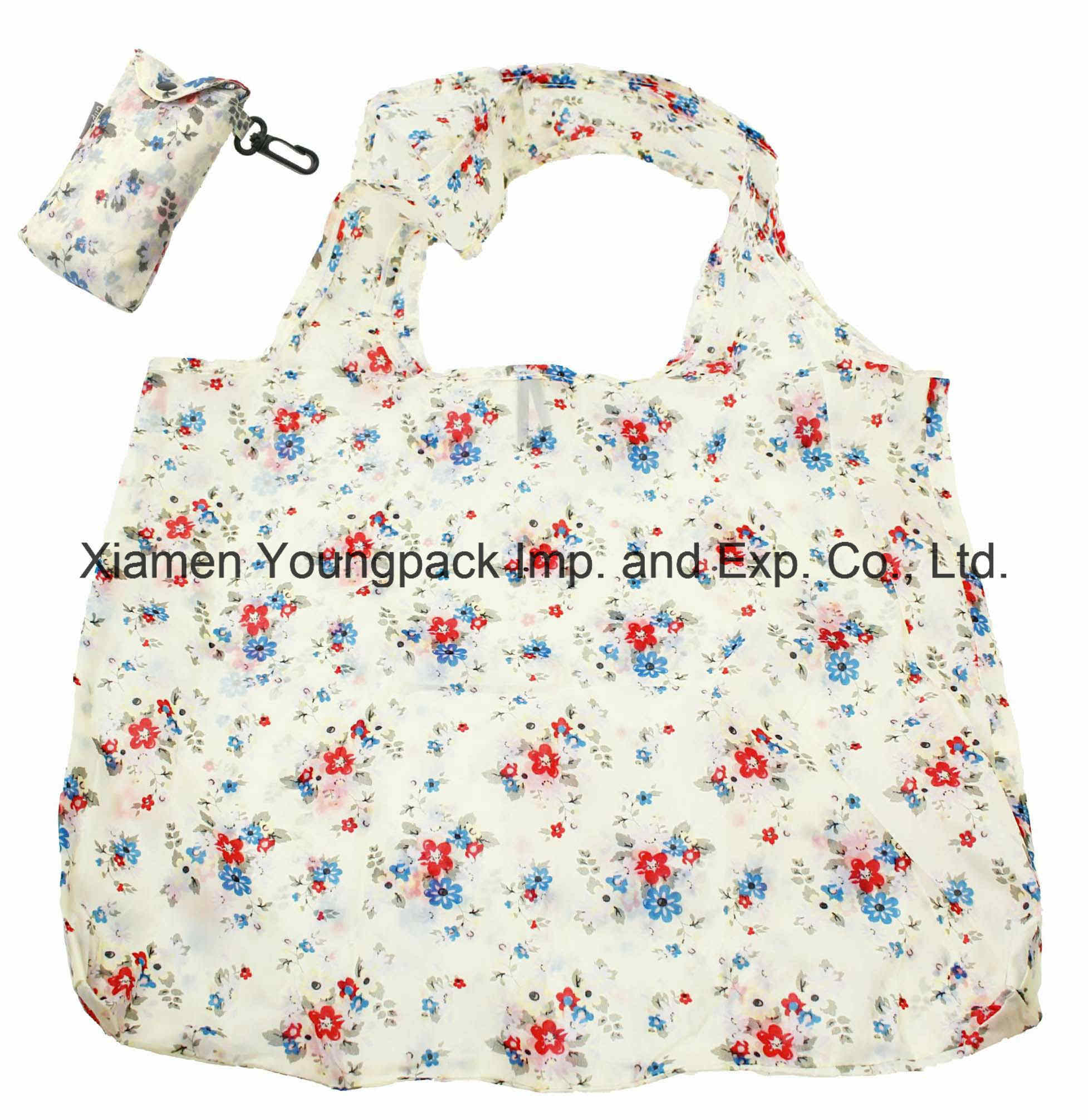 Customized Flower Design Nylon Fold up Shopping Bag in Pouch with Clip Attachment