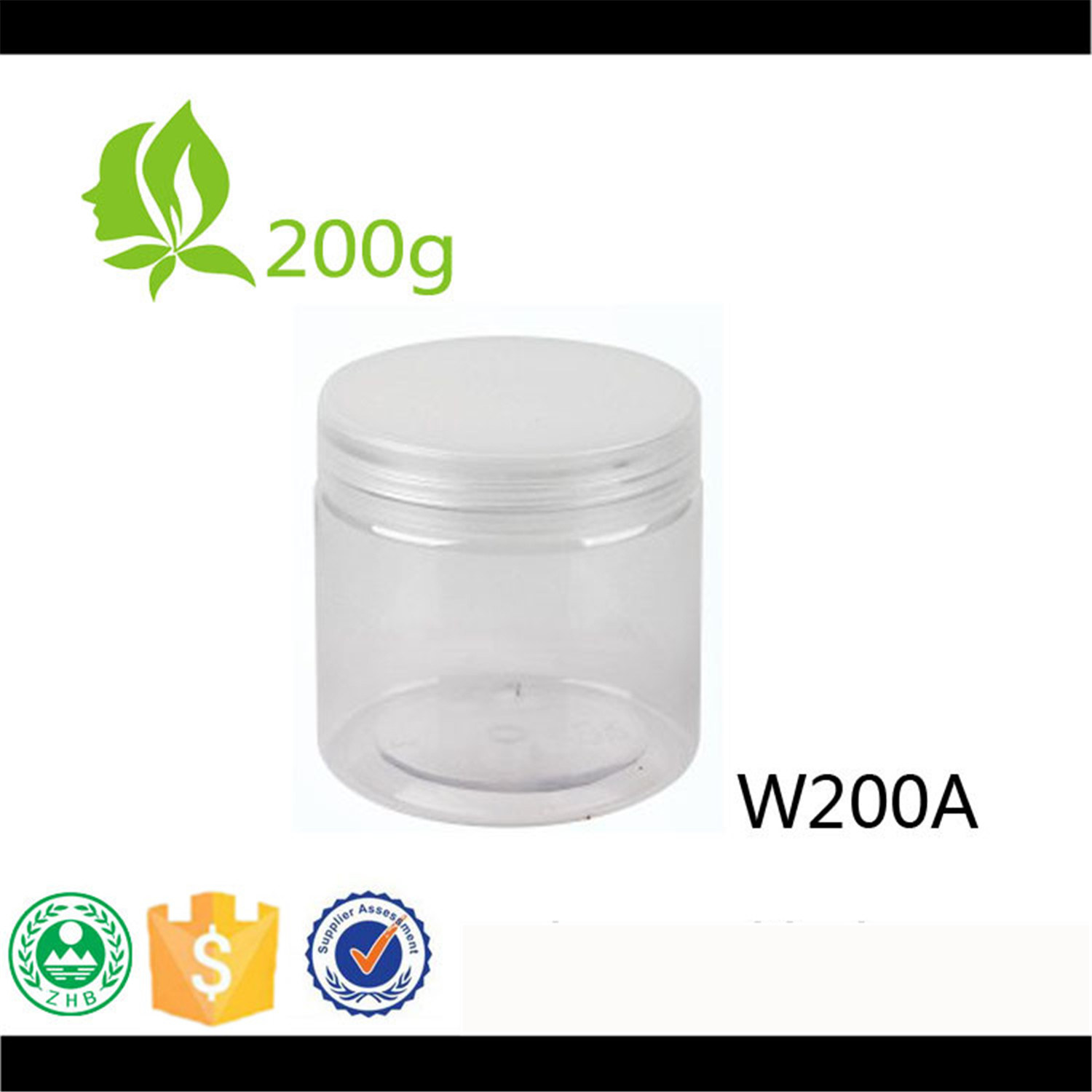 Hot Sales 200ml Pet Packing Wide Mouth Jar