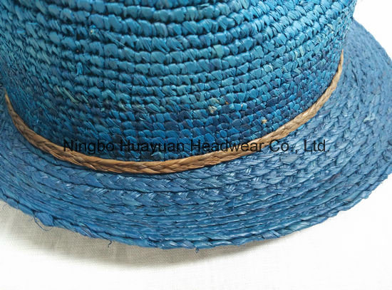 100% Fine Crocheted Raffia Fedora Straw Hat