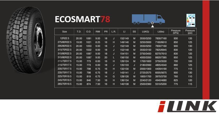 Ilink Truck & Bus Radial Tyres 295/80r22.5 (ECOSMART 78)