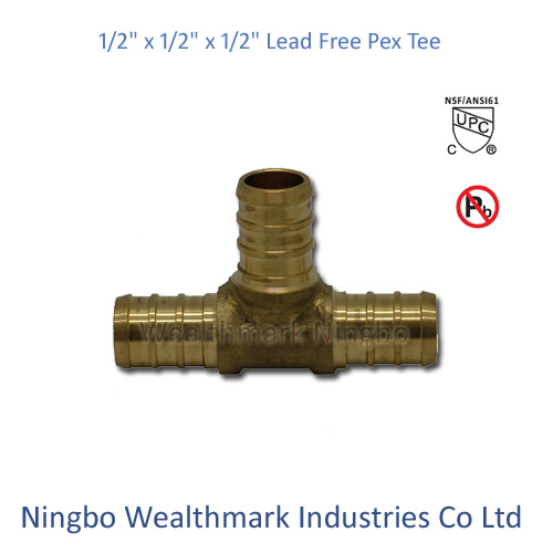 "Lead Free Brass 1/2"" Equal Tee Pex Pipe Plumbing Fitting"