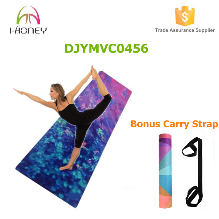 Galaxy Pattern Printed Yoga Mat Microfiber Layer Bonded to Natural Rubber Base