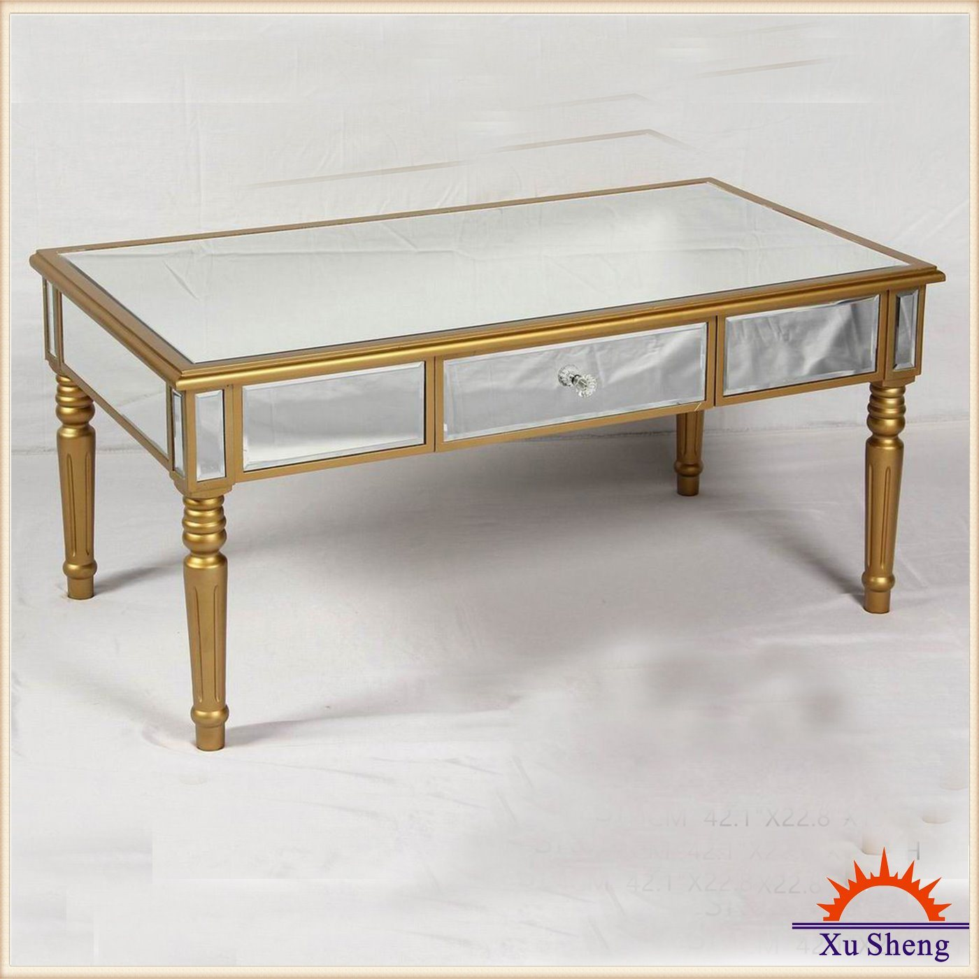 Wooden Mirrored Console Table - Champagne Gold Home Furniture