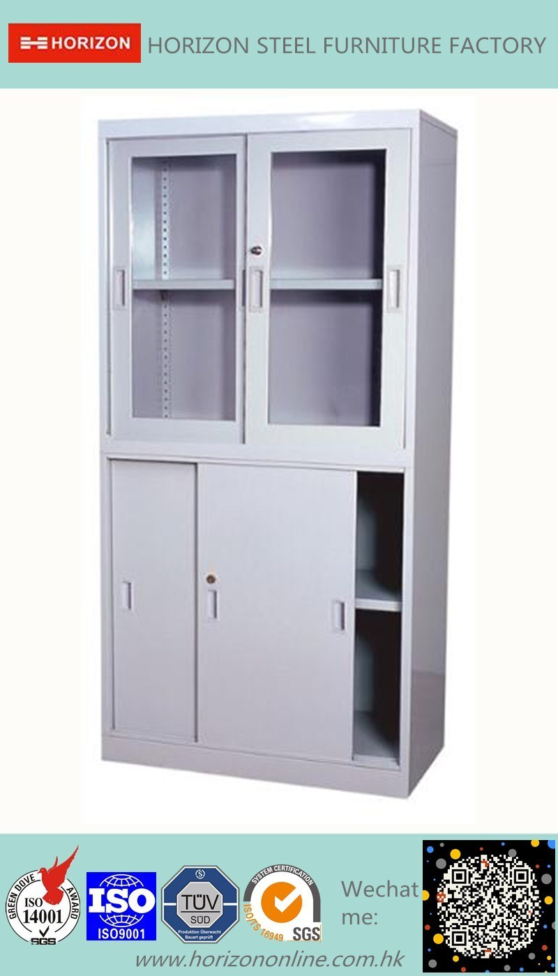 Steel High Storage Cabinet Office Furniture with Steel Upper Double Sliding Steel Framed Glass Doors and Lower Double Sliding Doors Cabinet/File Cabinet