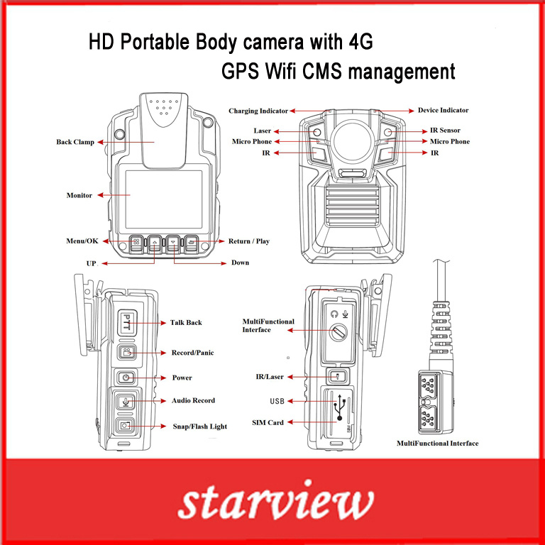 HD Portable Body Camera with 4G GPS WiFi Cms Management