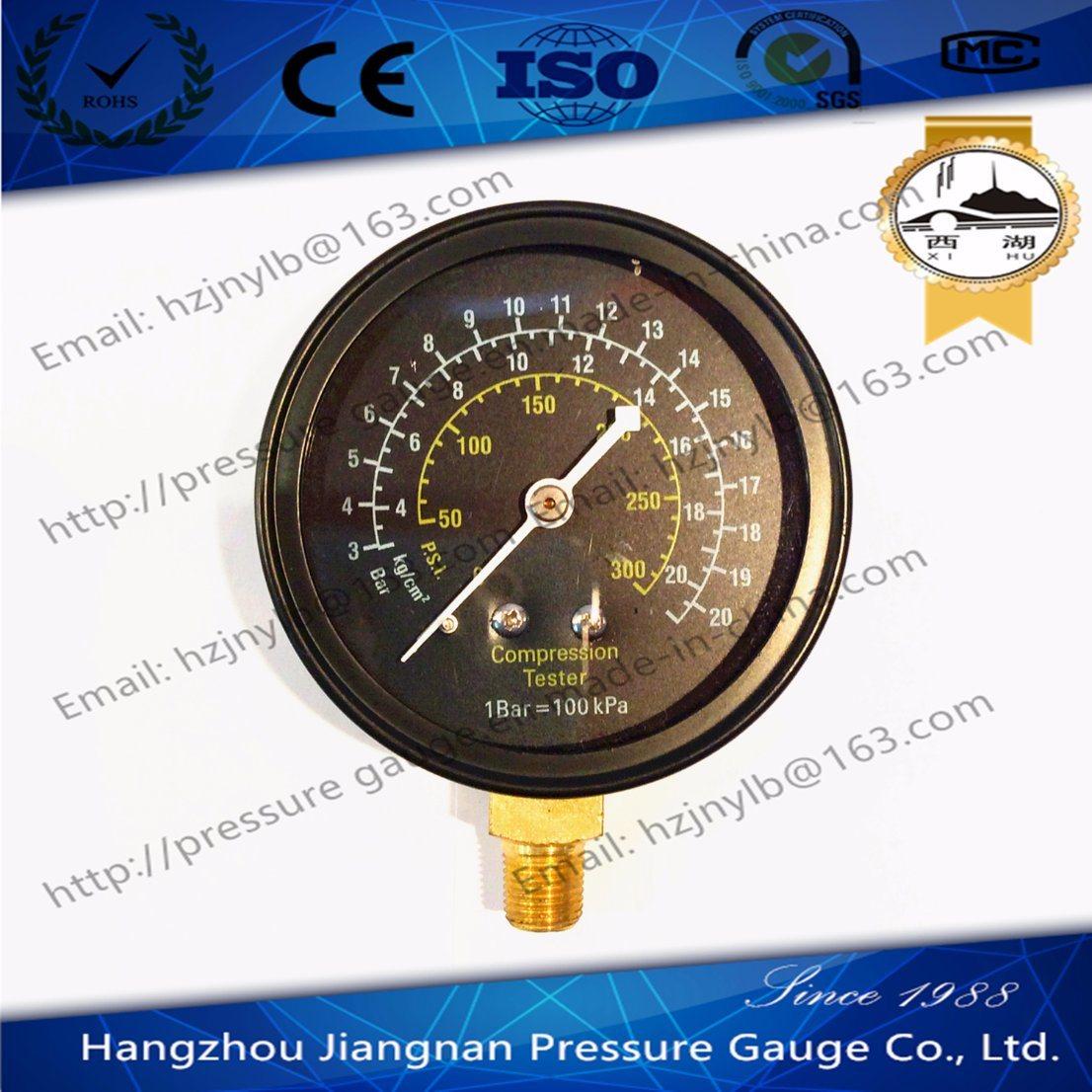 70mm Black Dial General Pressure Gauge for Compression Tester