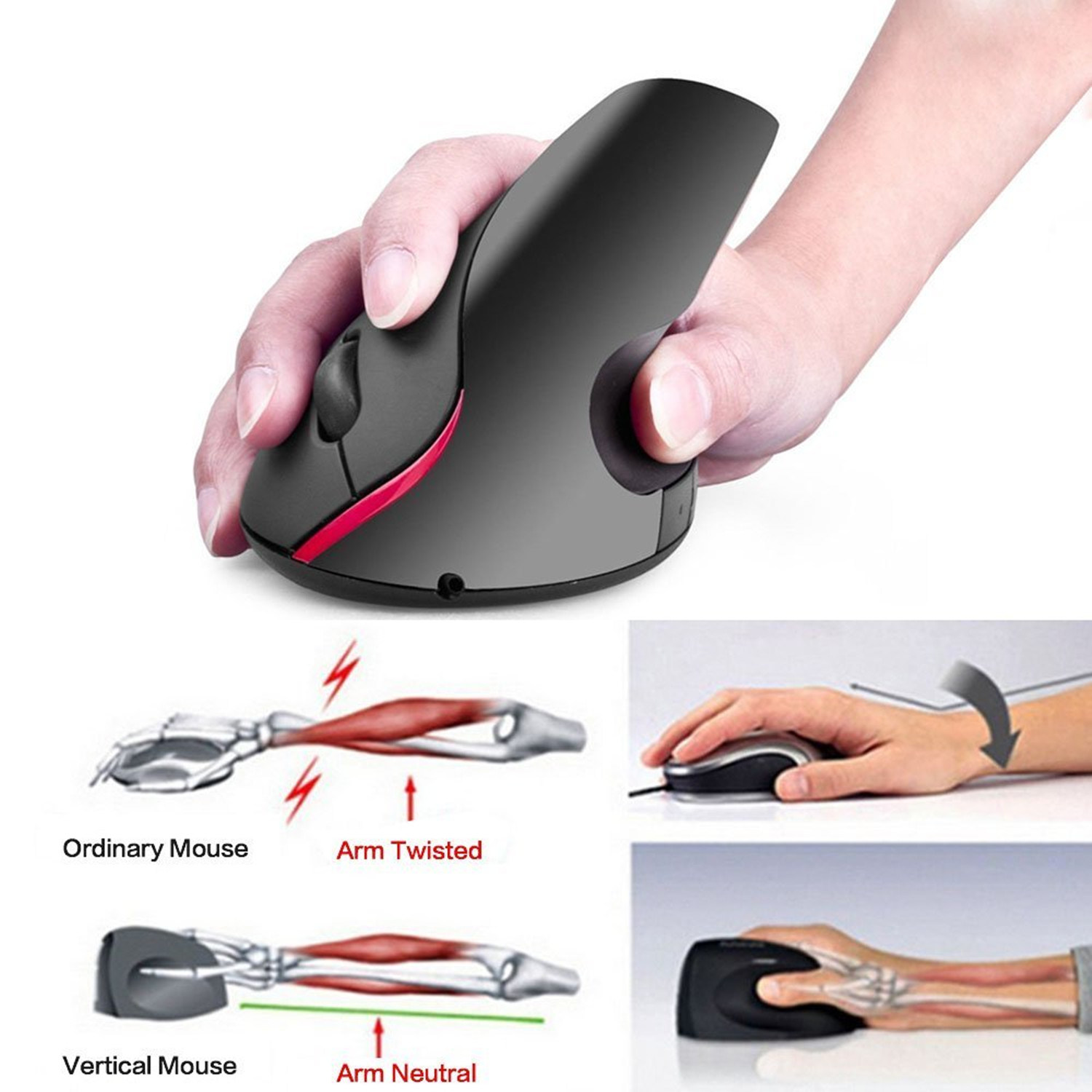 2.4G Wireless Gaming Ergonomic Design Optical Vertical 2400dpi Mouse