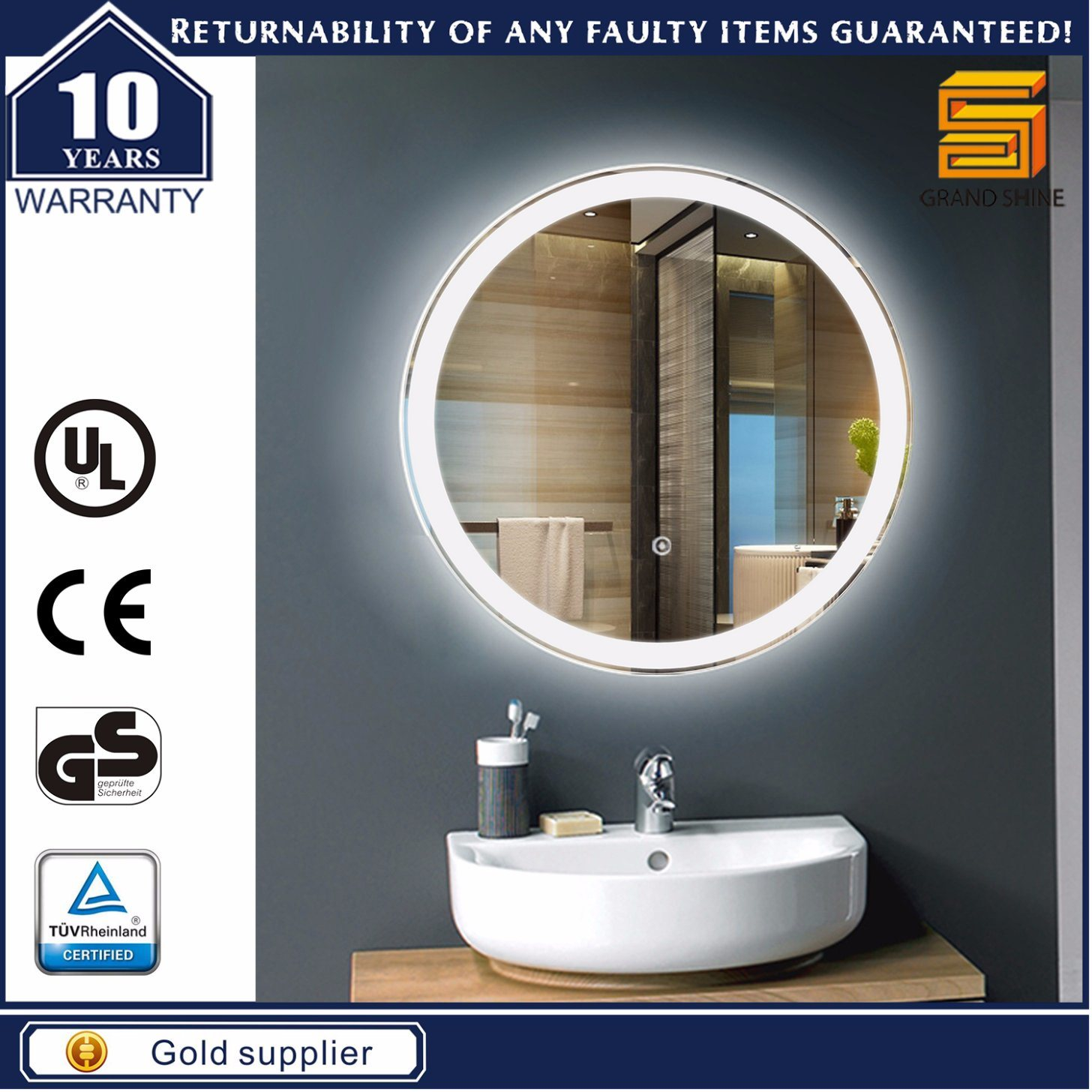Aluminum Frame LED Bathroom Backlit Mirrors for Hotel