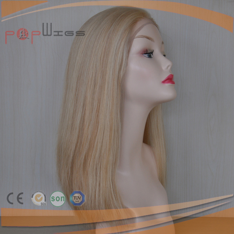 Full Hand Tied Human Blonde Mixed Golden Hair Lace Front Medical for Hair Loss Patient Wig