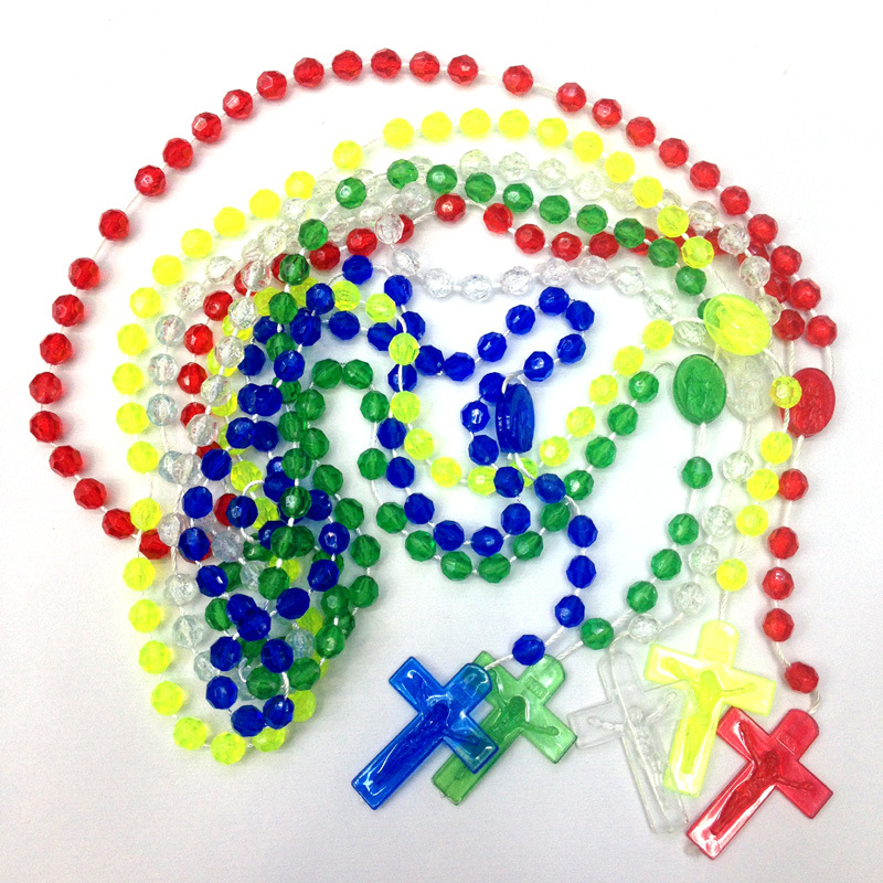 Cheap 6mm Colourful Acrylic Facet Bead Cord Rosary Necklace, Knot Rosary with Crucifix