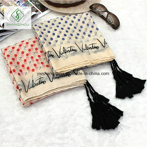 Literature DOT Words Printed Tassels Hanging Scarf Shawl