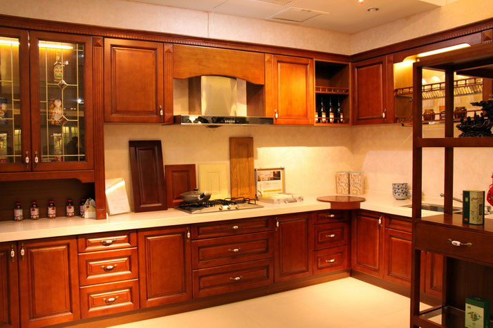 China cherry kitchen cabinet solid wood china kitchen for Cherry wood kitchen cabinets