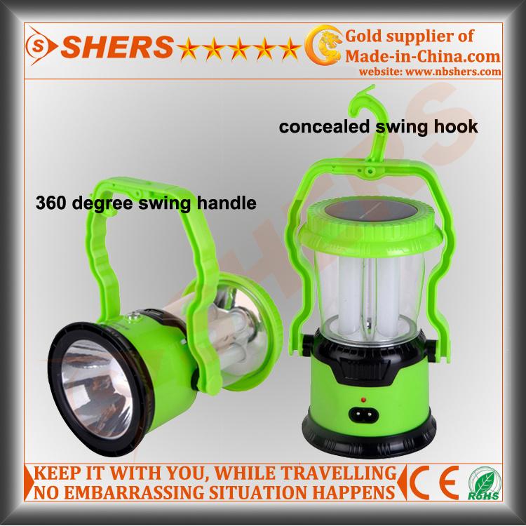 8 LED Solar Camping Lantern with LED Torch, USB (SH-1972)