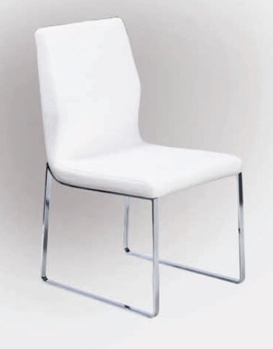 Modern white leather dining chairs